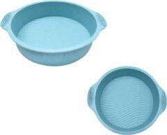 ZijTak - Ronde bakvorm - Φ 24cm - Silicone - Taart vorm - Gebak - Cake - Koekjes - Dessert - Toetjes - Quiche - Goede kwaliteit - Anti kleeflaag - Bakken - Pastel blauw