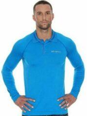Brubeck Prestige Seamless Sport Poloshirt Golf / Tennis Lange Mouw-Blauw-XXL