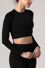 Zwarte REVIVE Sportswear REVIVE seamless - cropped - Long Sleeve - shirt VIANE met bloem design