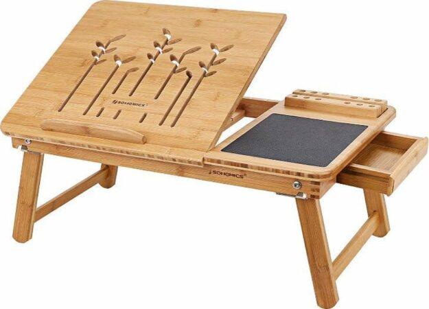 Afbeelding van Bruine MIRA home MIRA Laptopstandaard - Ingebouwde Muismat - Kantoor - Boompjesframe - Bamboe - 63.5 x 35 x 33.5 cm