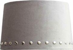 Licht-grijze Sizland Dezign BRISTOL lampenkap - Velvet - Grijs & Zilveren studs - Groot