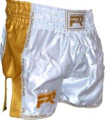 Punch Round™ Kickboks Broekje Carbon Wit Goud XS = Maat 28 | 8 t/m 10 Jaar