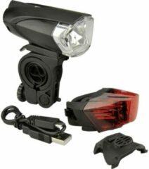 Fischer Fahrrad Fietsverlichtingsset 85354 LED werkt op een accu Zwart