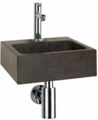 Douche Concurrent Fonteinset Differnz Square Rechthoek 28x27x9cm Natuursteen Chroom Toiletkraan Sifon Plug Bevestigingsset