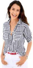 Blauwe Classic Inspirationen blouse met trendy streepdessin