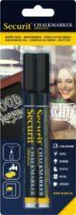 Securit 2x Zwarte ste vloeibare krijtstiften ronde punt 1-2 mm - Krijtstiften/hobby artikelen/kantoor benodigheden