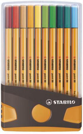 Afbeelding van STABILO point 88 fineliner, Colorparade, grijs-oranje doos, 20 stuks in geassorteerde kleuren