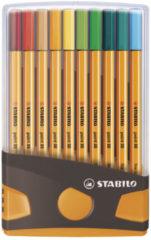 STABILO point 88 - Fineliner 0,4 mm - ColorParade - Antraciet/Oranje - Set Met 20 Verschillende Kleuren
