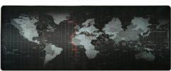 Zwarte DrPhone Gaming Muismat / Mat met Glad oppervlak en Gestikte randen - Antislip - (Wereldkaart) L: 80 cm L * 30 cm B