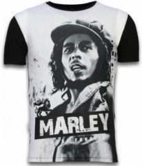 Zwarte T-shirt Korte Mouw Local Fanatic Bob Marley Black And White - Digital Rhinestone T-shirt