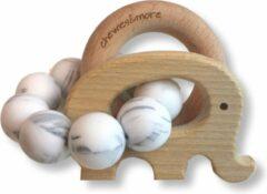 Grijze Chewies & More Rammelaar olifant met kralen Marble 6. Marble