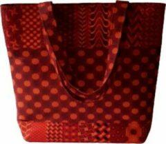 Jacqui's Arts & Designs- Dames Schoudertas - Rood - handgemaakt - Afrikaanse stof - shweshwe stof - kleurrijk - Zuid Afrika