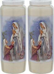 Enlightening Candles 2x Witte noveenkaarsen met gebed 6 x 18 cm 9 dagen - Noveenkaars - Gedenkkaars - Graflicht/herdenkingslicht