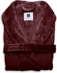 Bordeauxrode Zo! Home ZoHome Cara Badjas Lang - Fleece - Maat M - Bordeaux Red