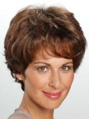 Pruik 'Karin' Lofty middenbruin/lichtroodbruine highlights