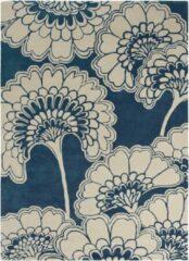 Florence Broadhurst - Japanese Floral 39708 Vloerkleed - 170x240 cm - Rechthoekig - Laagpolig Tapijt - Klassiek - Beige, Blauw