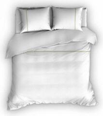 Zandkleurige Warme Flanel Eenpersoons Dekbedovertrek Stripe Wit/Zand | 140x200/220 | Hoogwaardig En Zacht | Ideaal Tegen De Kou