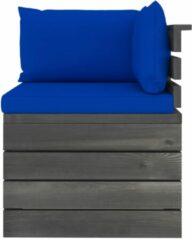 Blauwe VidaXL Tuinbank 2-zits met kussens pallet massief grenenhout