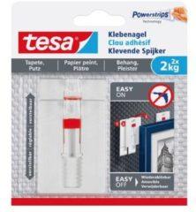 Transparante Massamarkt Tesa - 77777 - verstelbare klevende spijker voor behang en pleister - tot 2kg - 2 stuks