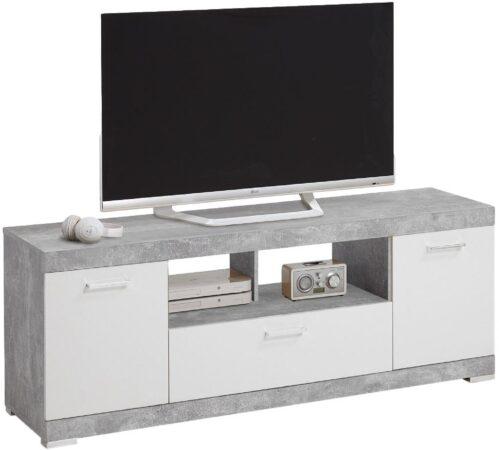 Afbeelding van FD Furniture Tv-meubel Bristol 160 cm breed - Grijs beton met wit