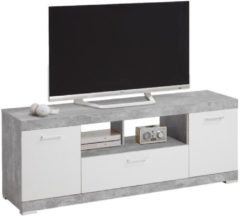 FD Furniture Tv-meubel Bristol 160 cm breed - Grijs beton met wit