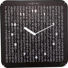 Zwarte NeXtime Labyrinth - Wandklok - Glas en Kunststof - Stil uurwerk - Ø 35 cm - Zwart