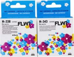 Pixeljet FLWR - Inktcartridge / 338/343 / 2-pack Zwart&Kleur - Geschikt voor HP