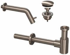Douche Concurrent Toiletkraan Set Inbouw Muur Rond Koudwaterkraan Geborsteld Nikkel Inkortbaar met Sifon en Always Open Plug