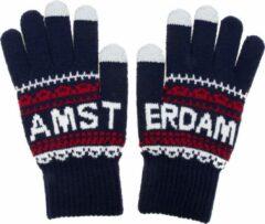 Marineblauwe Robin Ruth Handschoenen Uniseks Amsterdam navy-wit smart touch