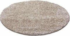 Decor24-AY Hoogpolig vloerkleed Life - beige - rond 80 cm