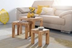 Wohnling 3er Set MUMBAI Satztisch Massiv-Holz Akazie Wohnzimmer-Tisch Landhaus-Stil Beistelltisch dunkel-braun Naturholz