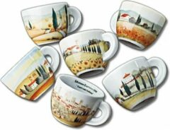 Porcellane d'ancap ANCAP Cappuccino kopjes Contrade italiane set van 6