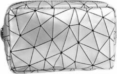 Fashion Favorite Toilettas Geometric Zilver - Klein   Kunstleer / Polyester   20,5 x 13 x 6,5 cm