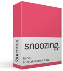 Snoozing flanel hoeslaken extra hoog - 100% geruwde flanel-katoen - Lits-jumeaux (160x200 cm) - Fuchsia