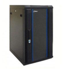 "Zwarte Alfaco 10-3412, 10"", 12U serverkast - wandkast, GEMONTEERD, gehard glazendeur (BxDxH) 370X450X635mm"