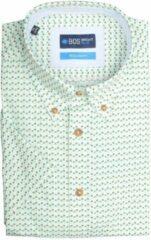 Turquoise Bos Bright Blue 19107WO04BO Casual overhemd met korte mouwen - Maat L - Heren