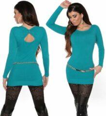 Koucla Fashion Trui met Open Rug Turquoise Blauw