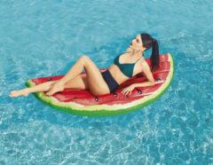 Rode Bestway luchtbed watermeloen - 174 x 89 cm - max 90 kg - stevig vinyl - veiligheidsventielen