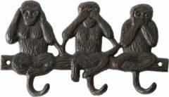 Bruine Best for Boots Kapstok met 3 kapstokhaken/wandhaken gietijzer horen/zien/zwijgen apen 22 x 13 cm - Aap/apen dieren artikelen - Kapstokken - Gietijzeren kapstokhaakjes/wandhaakjes - Kapstokhaak/wandhaak