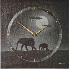 Grijze AMS Wandklok Leisteen met Airbrush 9524
