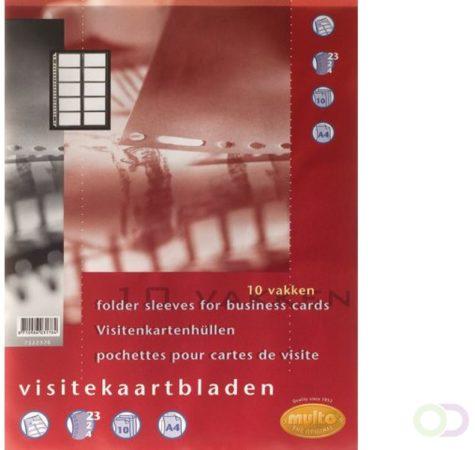 Afbeelding van Multo geperforeerde showtas voor visitekaarten ft A4, 10 vakken, pak van 10 stuks
