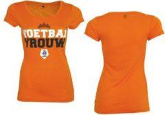 Oranje KNVB - Nederlands Elftal - Leeuwinnen T-shirt Dames Voetbal Vrouwen Blanco-S