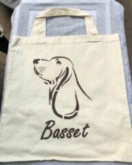 Naturelkleurige Merkl Katoenen tas Basset hond