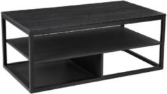 Maison Home Maison's Salontafel - Tafel - Vierkant - 3 lagen - Zwart - Metaal/Spaanplaat - 100x60x55