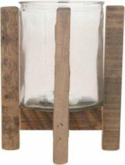 Bruine Bellatio Decorations 1x Houten Theelichthouders/waxinelichthouders Op Standaard 17,5 Cm - Kaarsenhouders/lantaarns - Sfeer Lichtjes