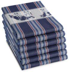 Blauwe DDDDD Friesan - Theedoek - 60x65 cm - Set van 6 - Blue