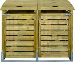 Bruine Intergard kliko ombouw klikoberging - afvalcontainer dubbel 150x122x90cm