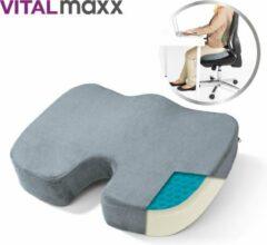 Grijze Vitalmaxx Gel Seat Cushion, 2-in-1 gel en comfortschuim zitkussen - orthopedisch kussen, traagschuimkussen