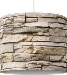 PPS. Imaging Pendelleuchte - Asian Stonewall - Steinmauer aus großen hellen Steinen - Lampe - Lampenschirm Beige Creme