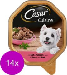 Cesar Alu Cuisine Kalf/Kalkoen/Rund In Saus - Honden Natvoer - 14 x 150 g